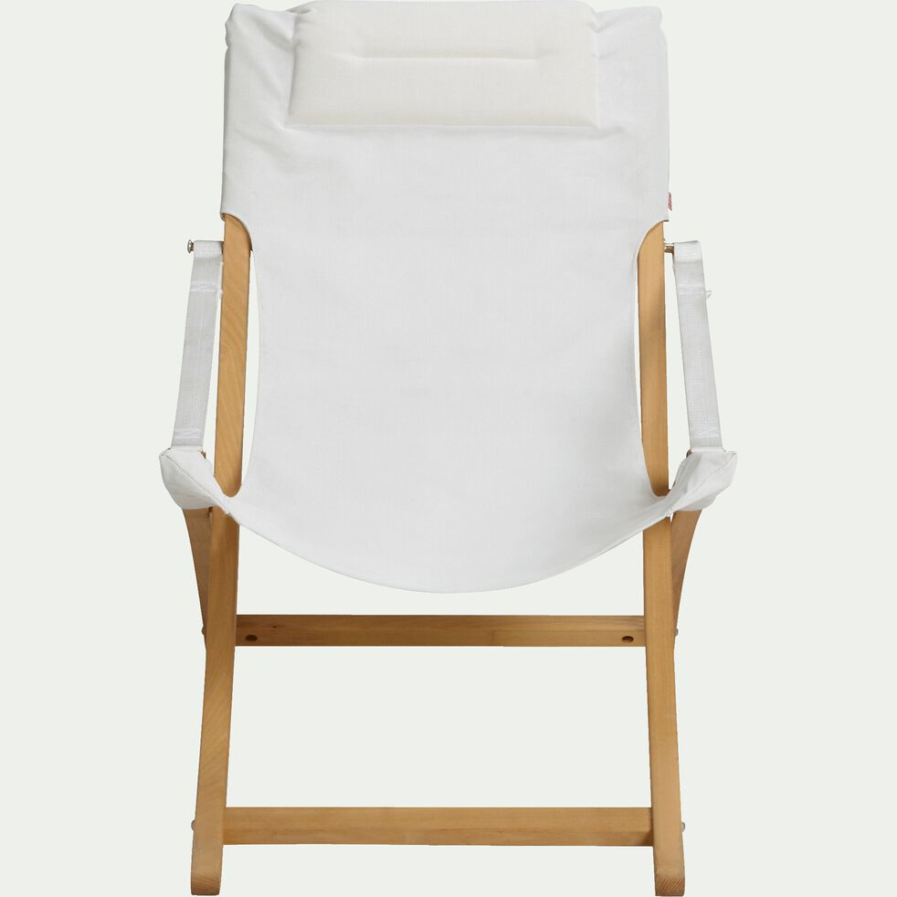 Fauteuil de jardin relax pliant blanc en acacia-LINDA