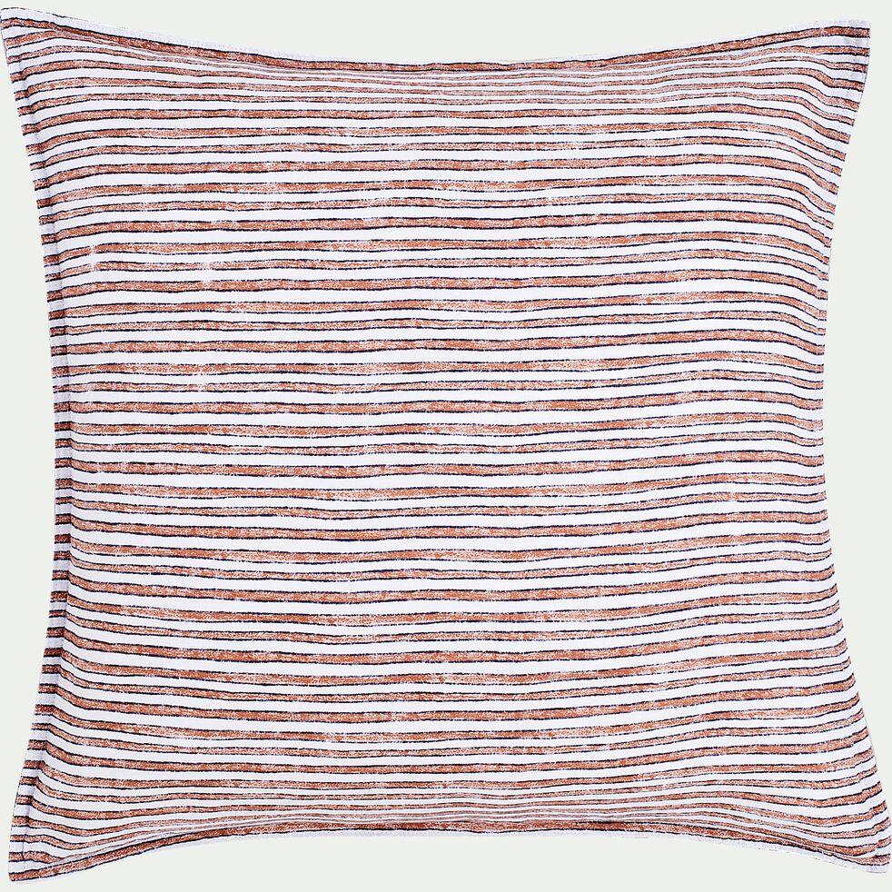 Housse de couette et 2 taies d'oreiller en percale de coton - orange brique 260x240cm-SIDI