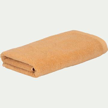 Serviette de bain bouclette en coton bio - marron camel 50x90cm-COLINE