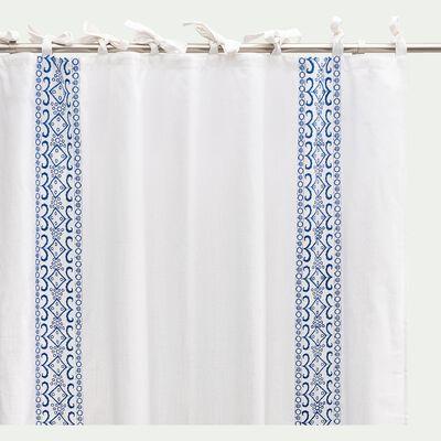 Rideau à œillets en coton brodé - blanc 130x250cm-CANINHA