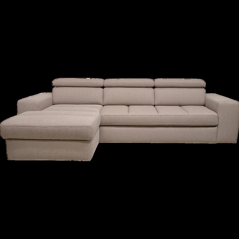 canapé d'angle gauche convertible en tissu grège - tonin - canapés d