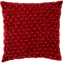 Coussin en coton rouge plissé et brodé 40x40cm-AURORA