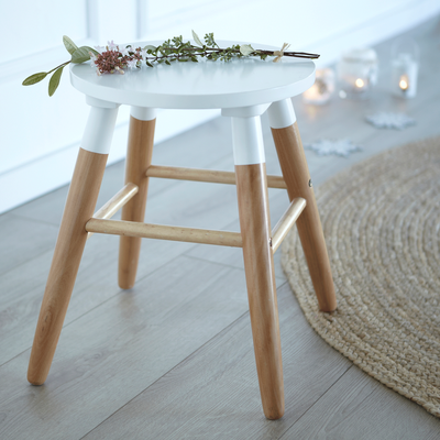 Tabouret bicolore bois et blanc - H45cm-GERMAIN