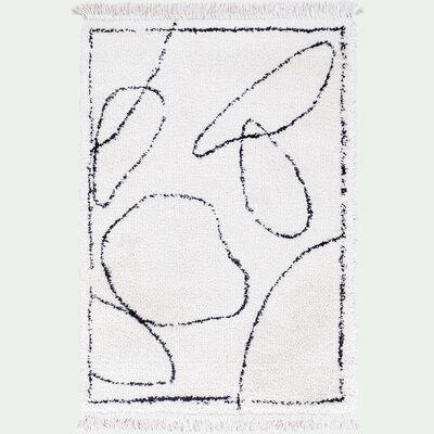 Tapis frangé inspiration berbère - noir et blanc 160x230cm-assia