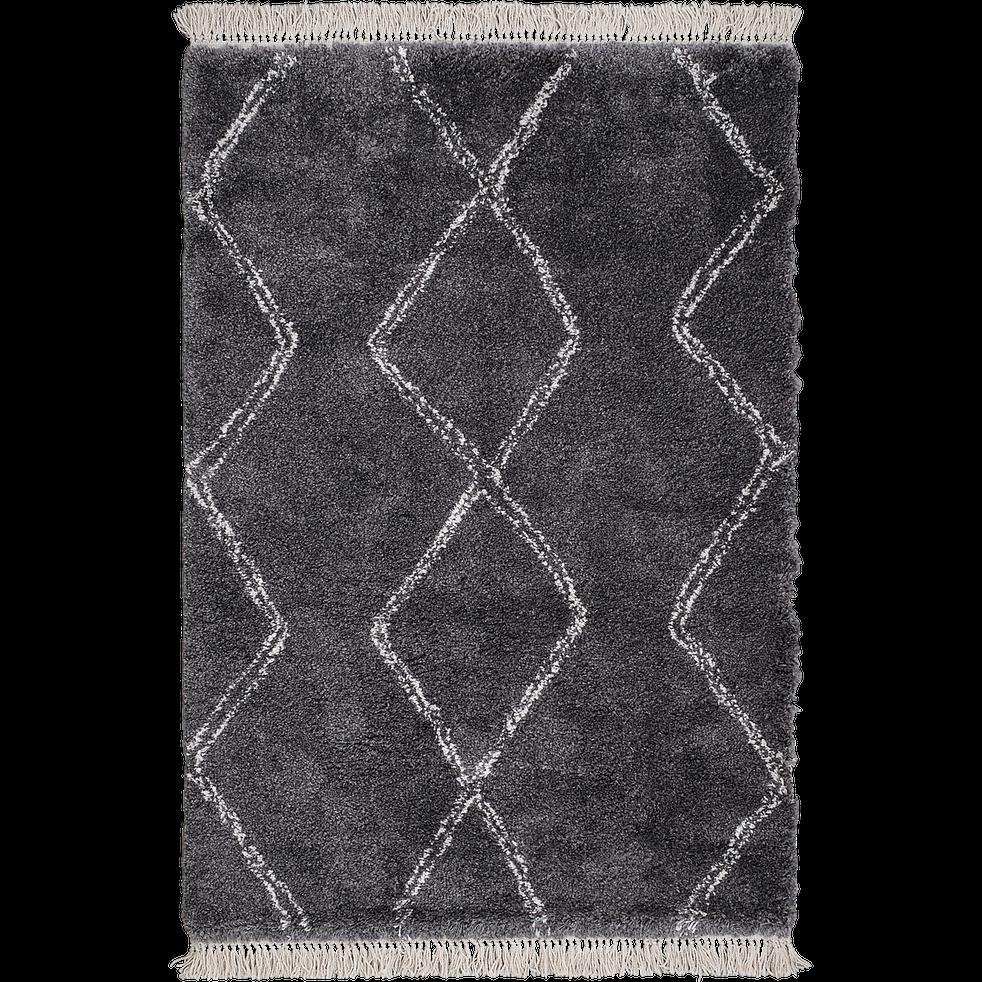Tapis de style berbère à franges gris 160x230 cm-ALICE
