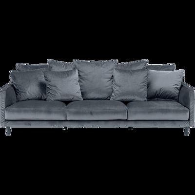 Canapé 6 places fixe en velours gris restanque-LENITA