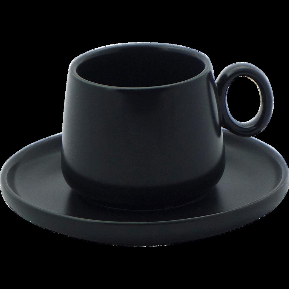 Tasse et sous-tasse en porcelaine noire mat 27cl-OSAKA