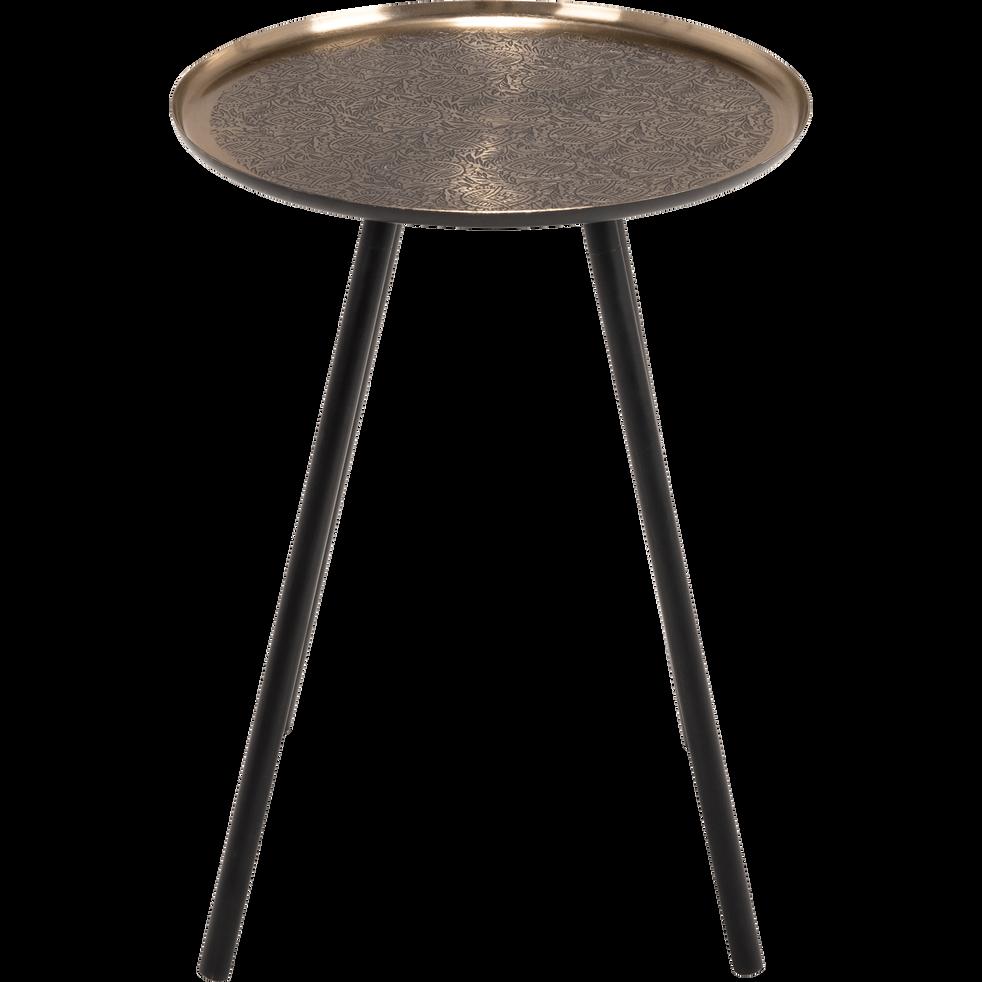 Bout de canapé en métal noir motif amande-ICARD