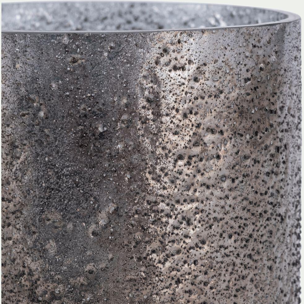 Photophore en verre - gris D10xH11cm-PICHOTO