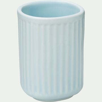 Porte brosse à dent en céramique striée - bleu amandier-NANS