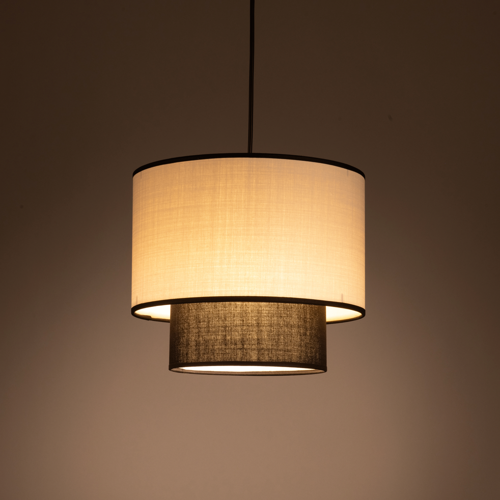 abat jour noir et beige d30cm marka alinea. Black Bedroom Furniture Sets. Home Design Ideas