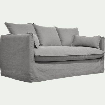Canapé 3 places fixe en coton et lin - gris borie-KALISTO