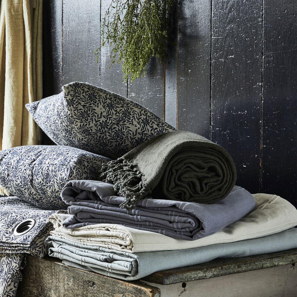 Couvre-lit tissé en coton - gris borie 180x230cm-BELCODENE