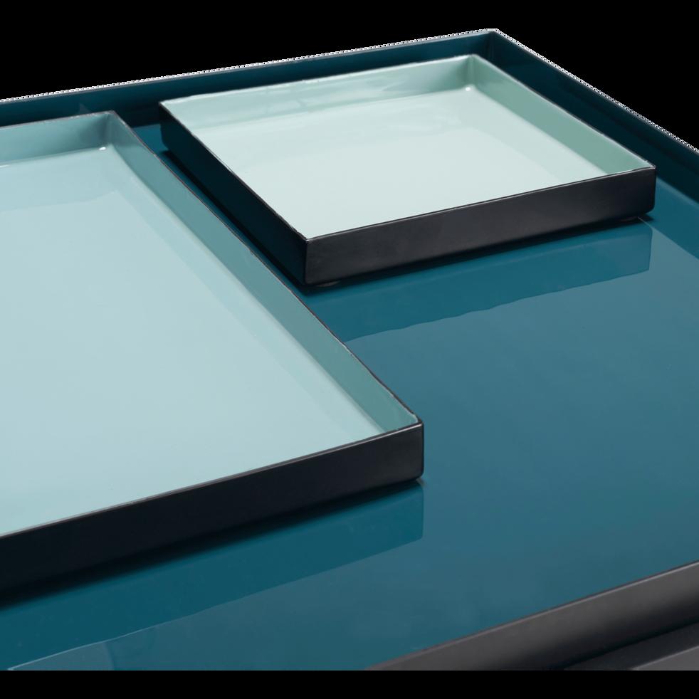 Bout de canapé carré en métal noir et bleu niolon-ARCAS