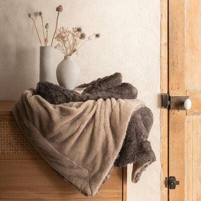 Plaid en polyester - marron chocolat 170x130cm-LOURO