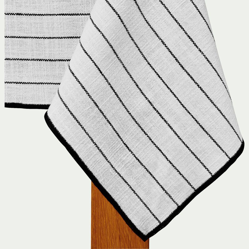 Nappe en coton blanc et noir 170x350cm-BADIANE