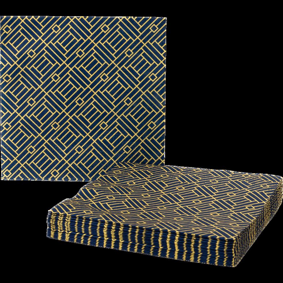 Lot de 20 serviettes en papier bleu décoré 33x33cm-MOZAIQUE