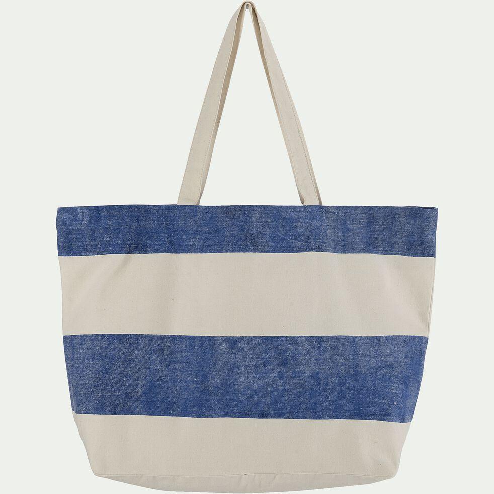 Sac rayé en toile de coton - bleu et blanc 42x60cm-ALBA