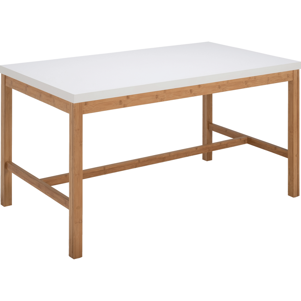 table de repas rectangulaire bicolore blanche et bois 6. Black Bedroom Furniture Sets. Home Design Ideas