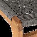 Fauteuil et repose pied en eucalyptus gris-GAOU