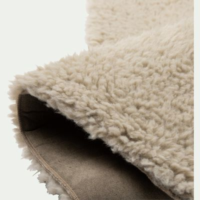 Tapis sherpa rectagulaire uni 100x133cm vert olivier-AURORE