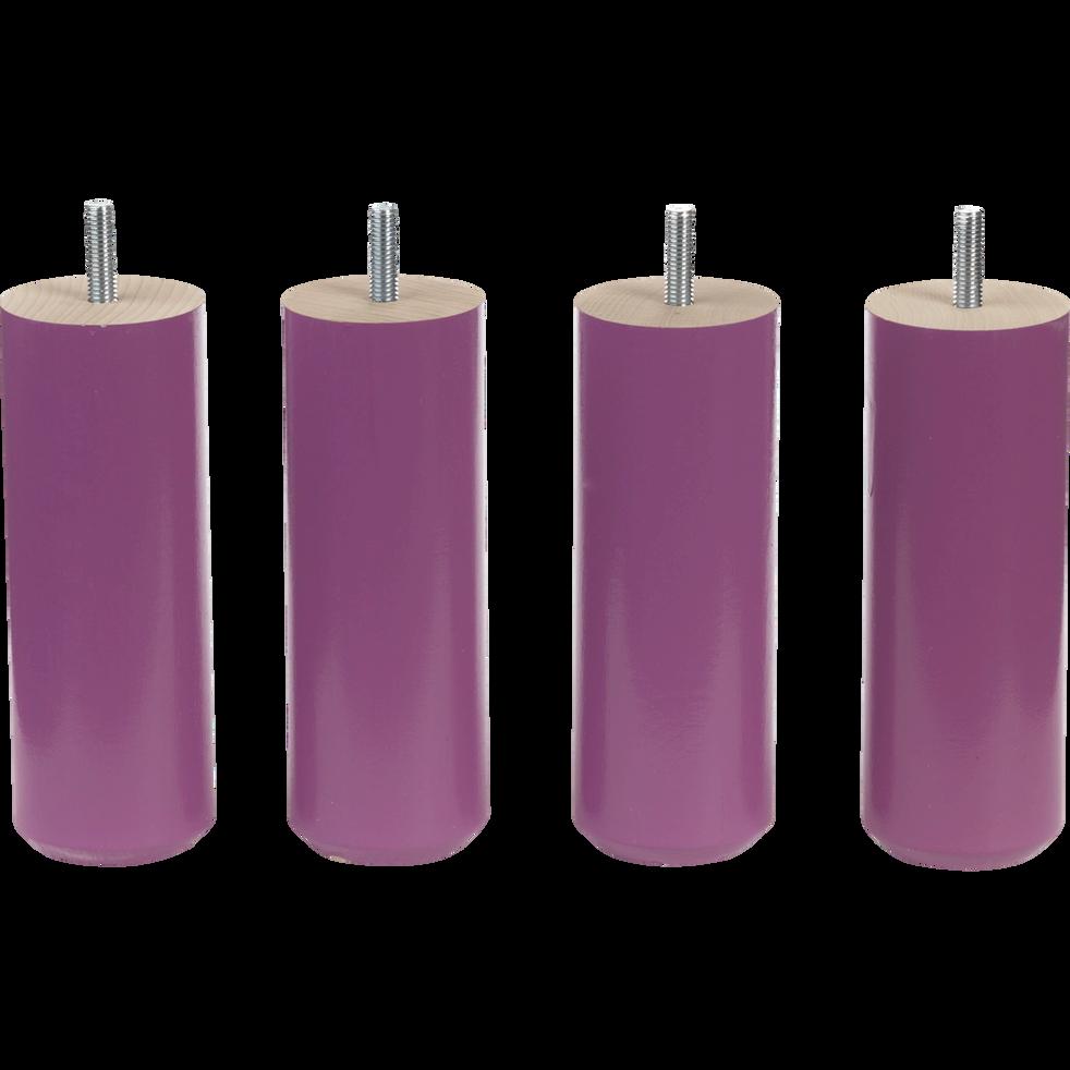 Pieds de sommier prune H15 cm - jeu de 4-Cylindre