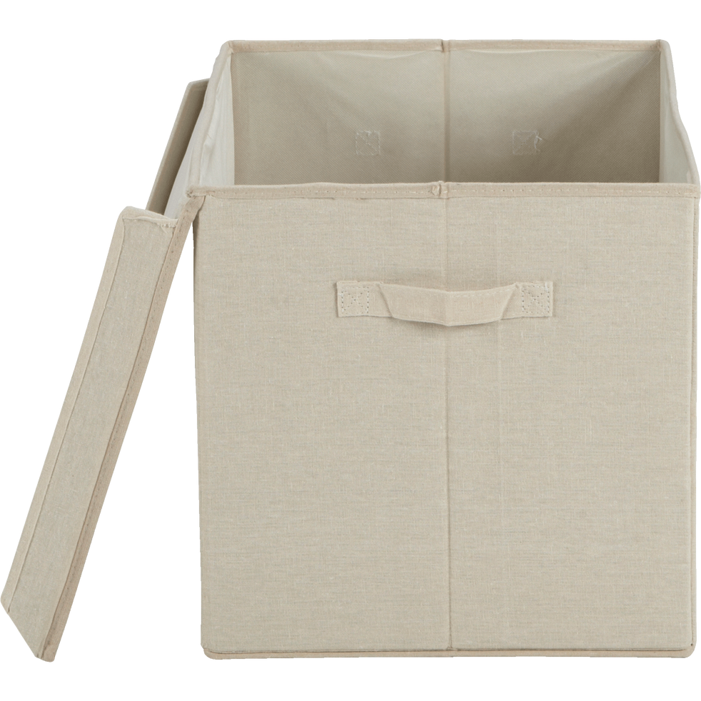 Boîte de rangement en lin beige 50x35x35cm-AGAPANTHE
