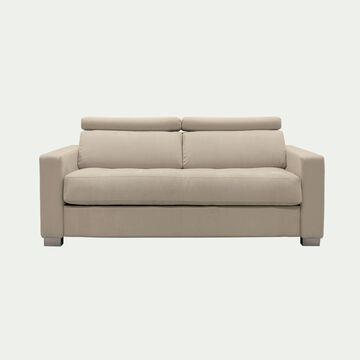 Canapé 2 places convertible en tissu avec accoudoir 15cm - beige-MAUROBULTEX