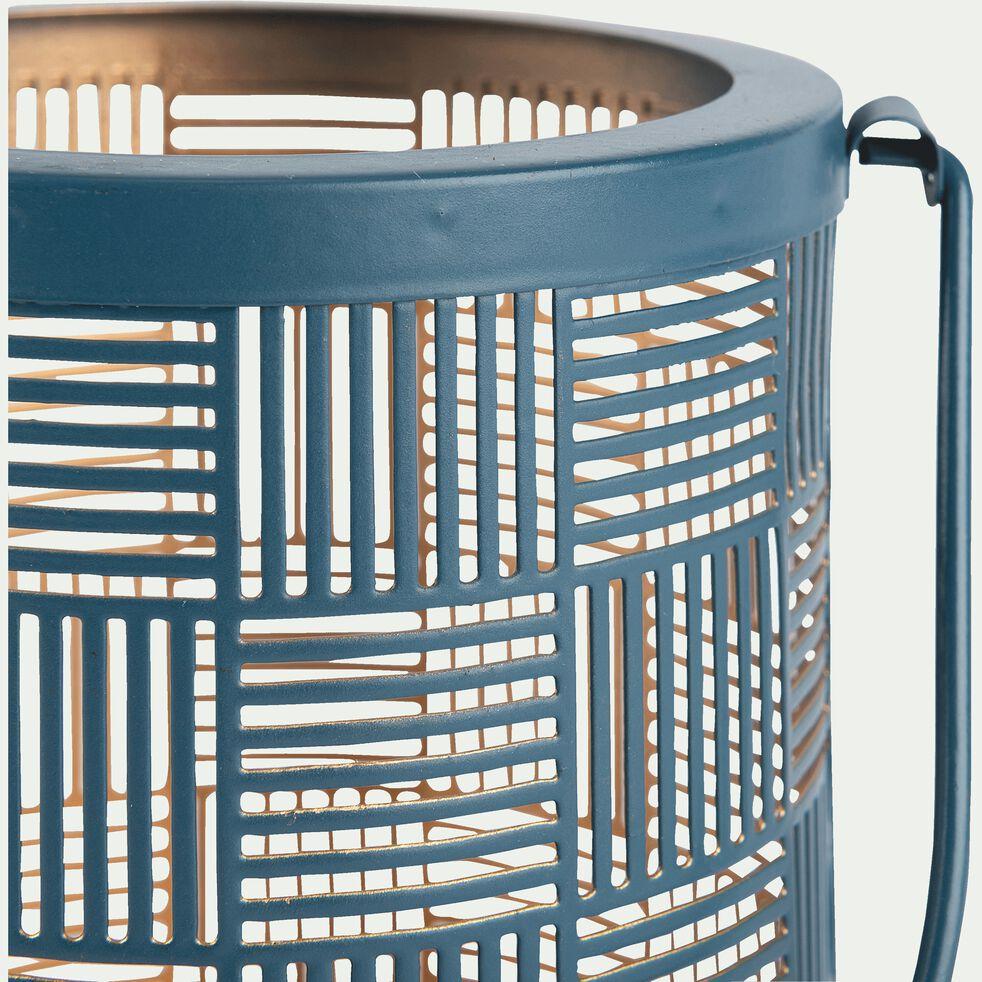 Lanterne en métal bleu H12cm-AUXANE