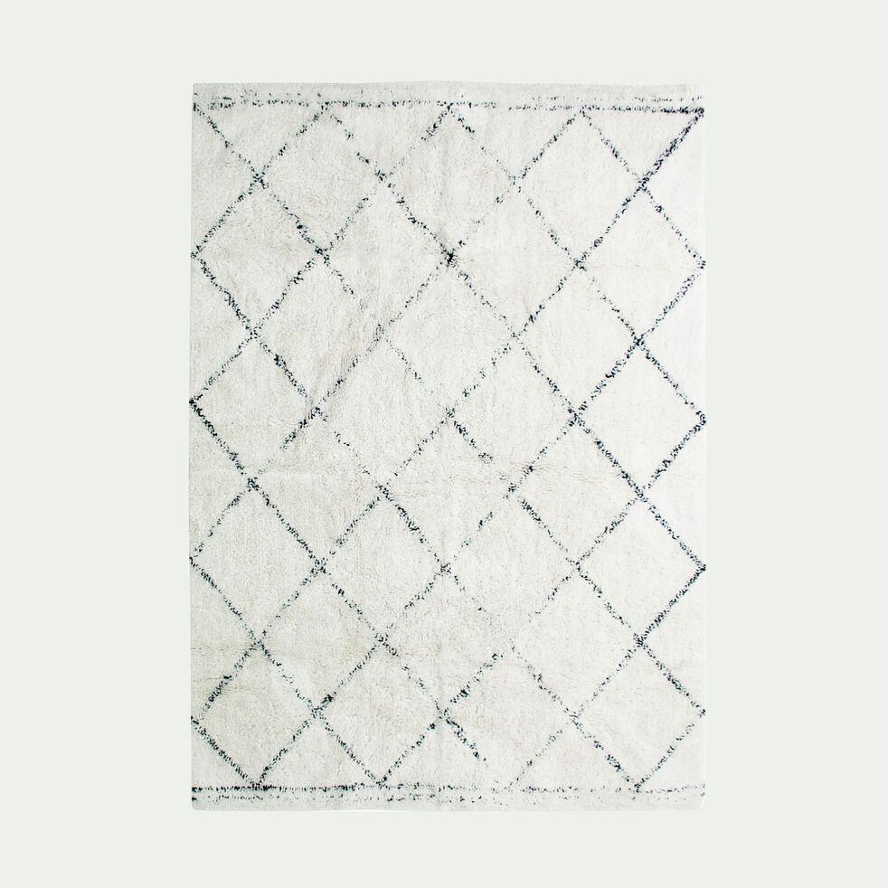 Tapis inspiration berbère - écru et noir 160x230cm-LOSANGE