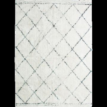 Tapis inspiration berbère écru et noir 160x230 cm-LOSANGE