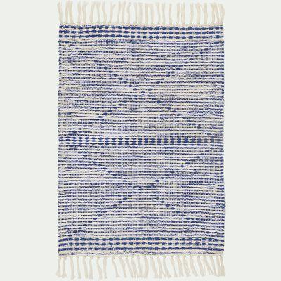 Tapis frangé en coton - bleu et blanc 60x90cm-BEM