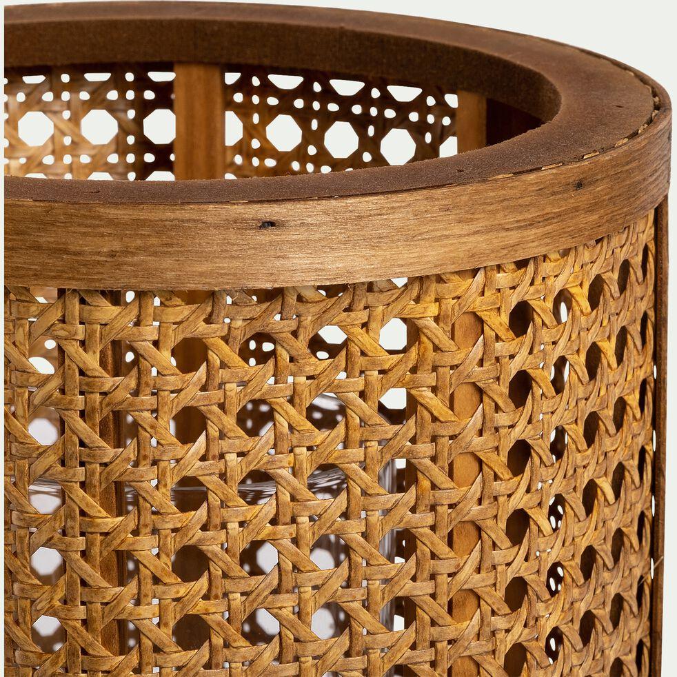 Lanterne inspiration cannage en pin - naturel D10,5xH15cm-MONA