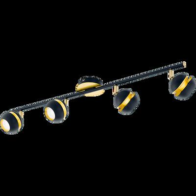 Spot en acier noir et doré L76cm à 4 lumières-NOCITO