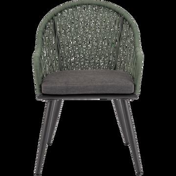 Fauteuil de jardin en aluminium vert cèdre et gris-PADOUE