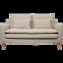 Canapé 2 places fixe jupe courte en lin gris borie-FITOU
