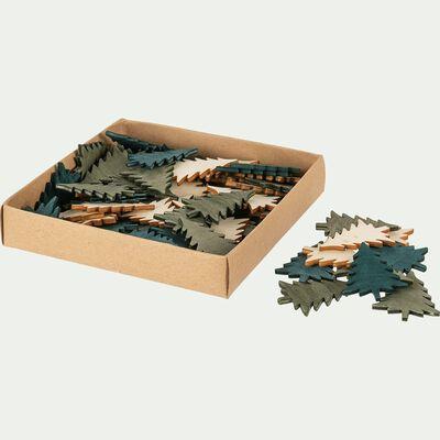 Boite de 20 sapins décos en bois de peuplier - D12xP2,5cm multicolore-DOMS