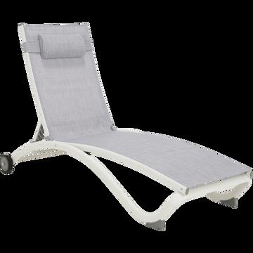 bain de soleil en aluminium et textil ne gris lecco. Black Bedroom Furniture Sets. Home Design Ideas