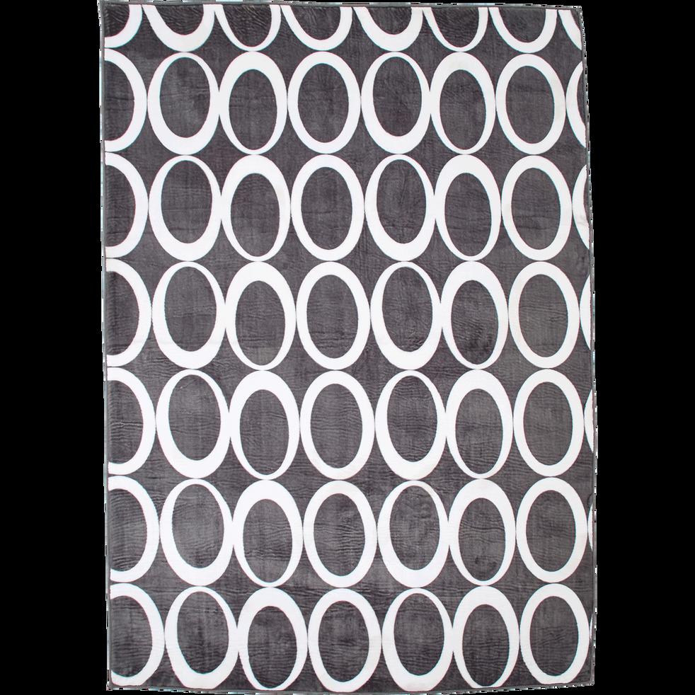 Tapis effet fourrure 160x230cm gris anthracite et blanc-ROSWELL