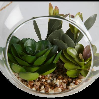Succulentes artificielles à suspendre 14x17cm-PLANTE