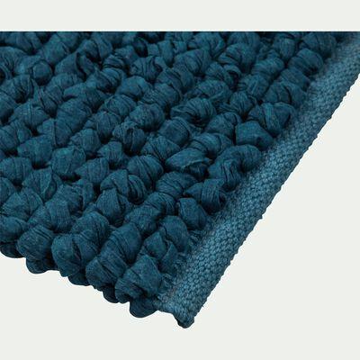 Tapis de bain en coton bleu figuerolles 80x50cm-JAN