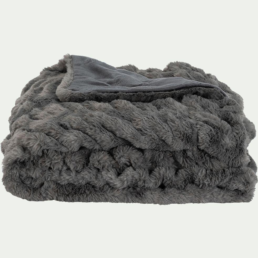 Plaid - 130x170cm gris anthracite-CARINO