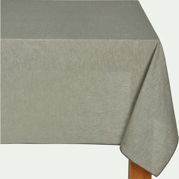 Nappe en lin et coton vert olivier 170x170cm-NOLA