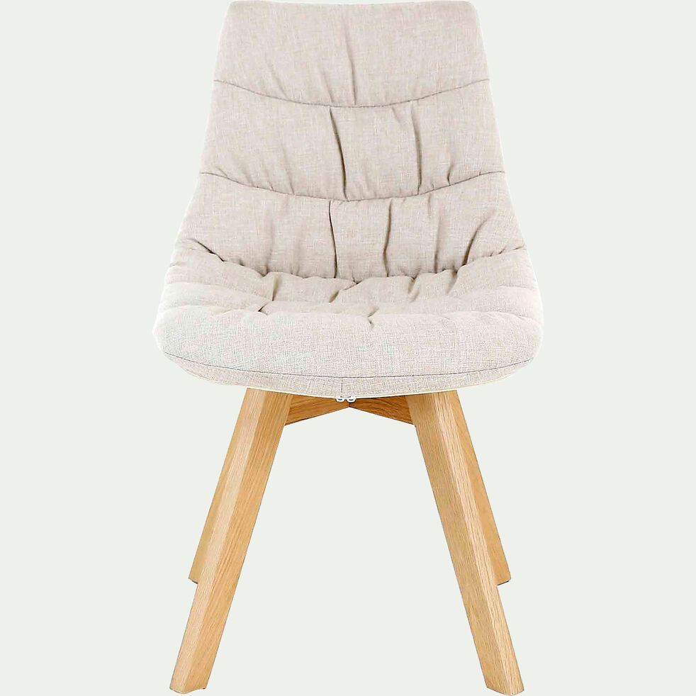 Chaise en tissu beige avec piètement en bois-JOY