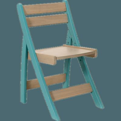 Chaise évolutive pour enfant en acacia coloris bleu-PIROUETTE