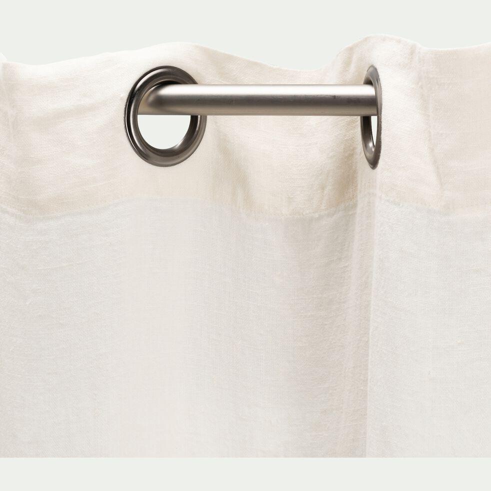 Rideau à oeillets en lin lavé blanc ventoux 140x360cm-VENCE