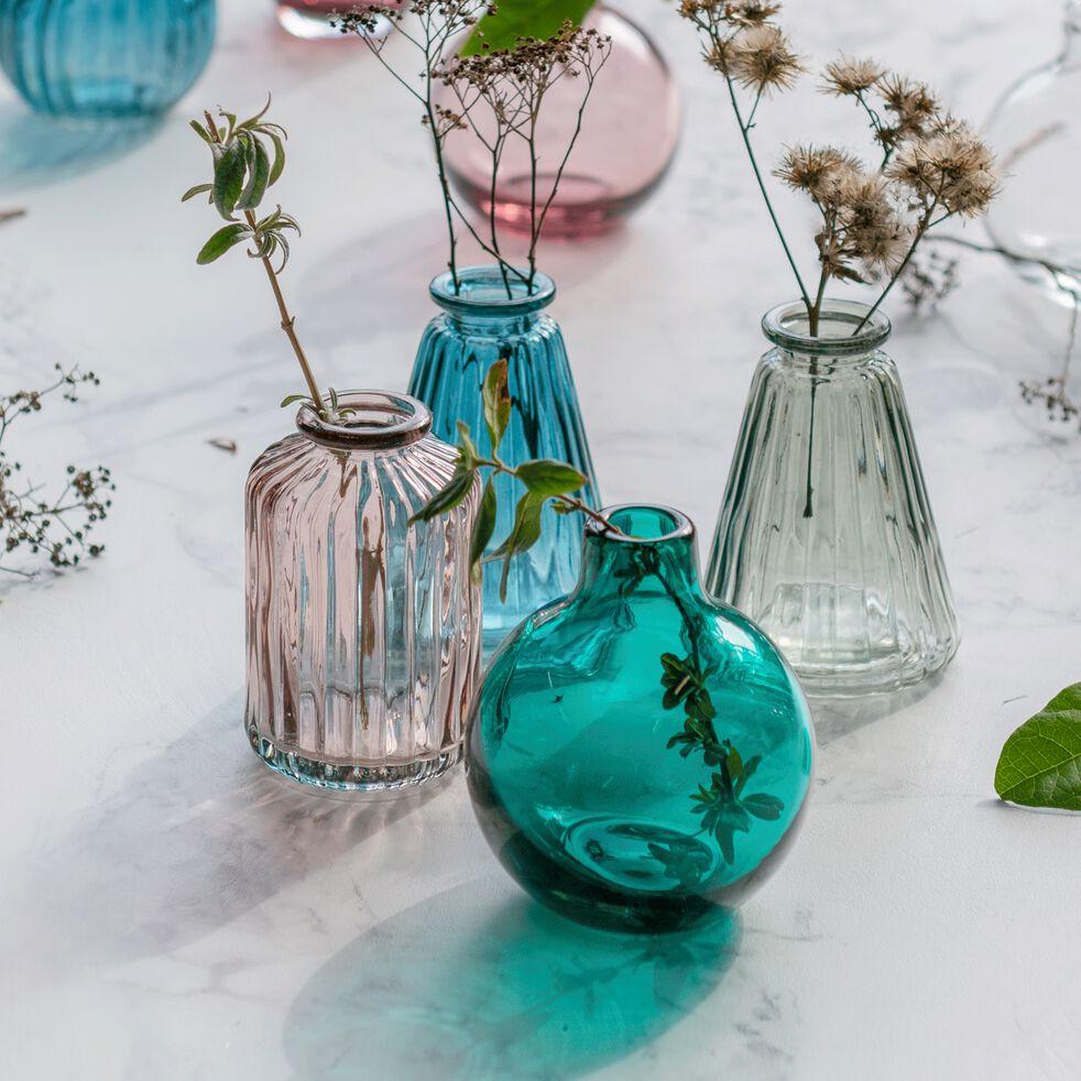 Vase sillonné en verre - vert olivier H10cm-Cios