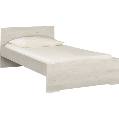 Lit 1 place avec tête de lit cerisier blanchi - 90x200 cm-BROOKLYN