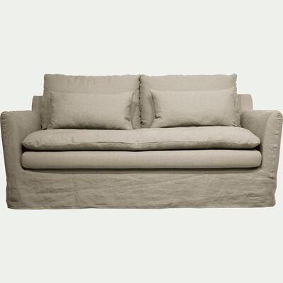 Canapé 3 places fixe jupe longue en lin froissé gris borie-FITOU