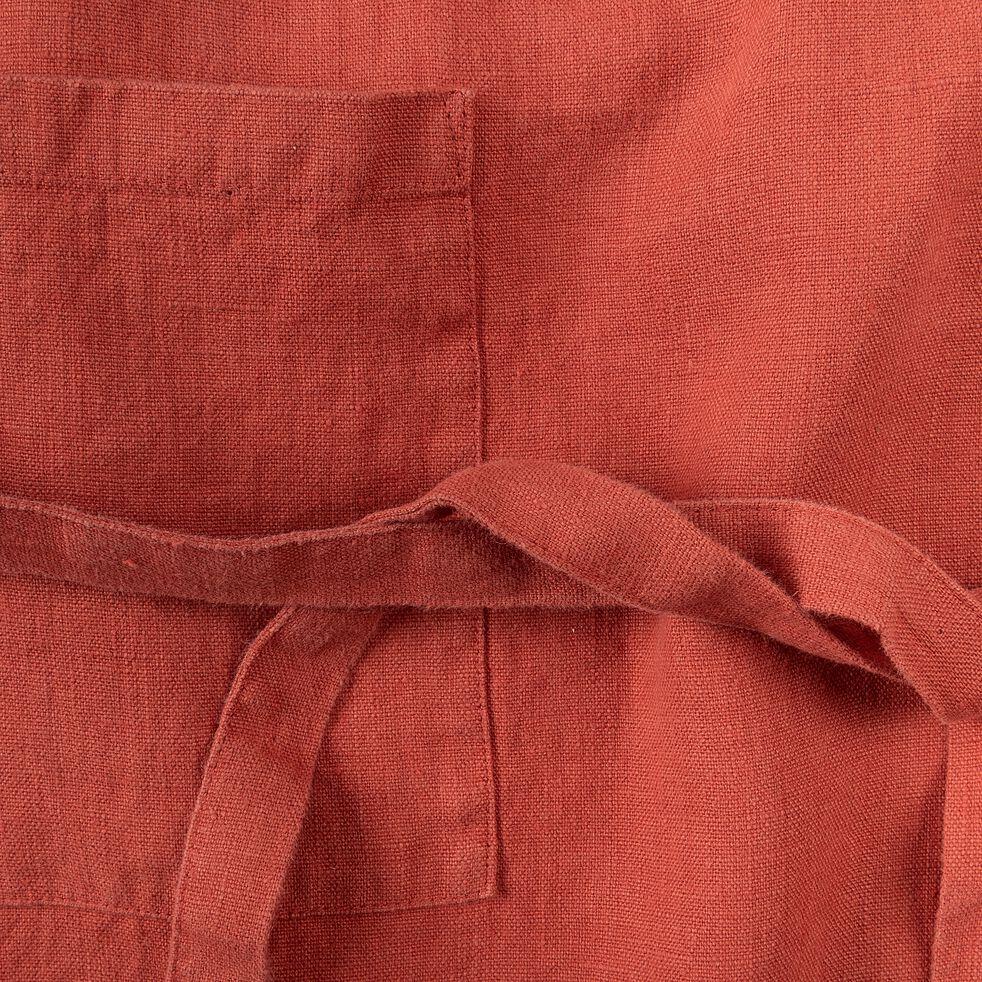 Tablier en lin rouge-VERO